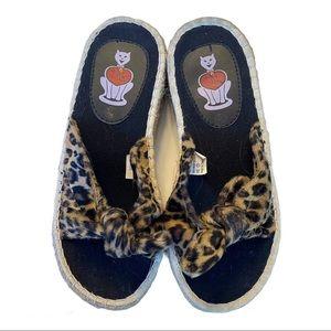T.U.K. Cheetah Espadrille Sandal Slide Size 7